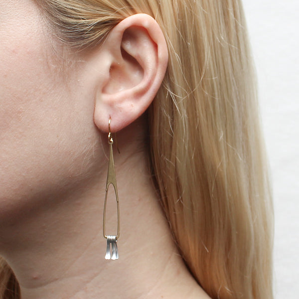 Long Triangular Hoop with Fringe Earring