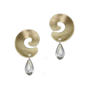 Swirl with Bead Post Earring