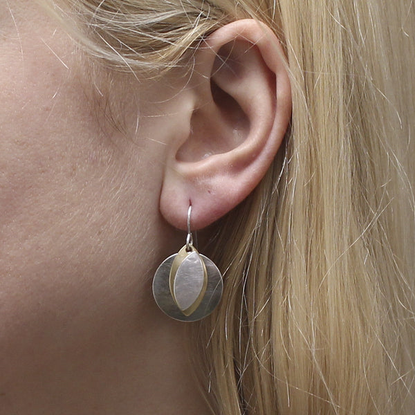 Small Disc and Leaves Earring