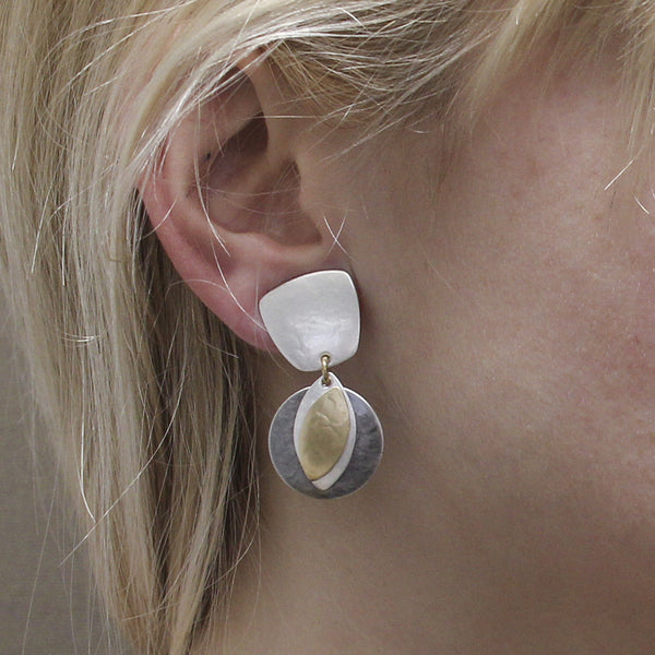 Tapered Square with Disc and Leaves Earring