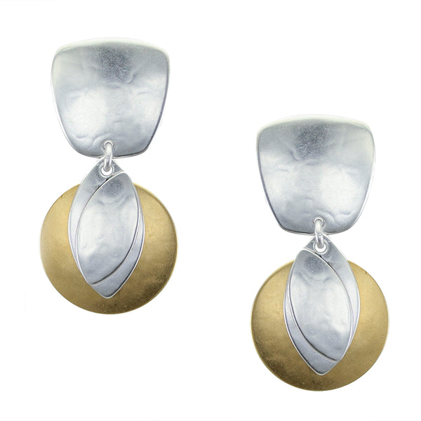 Tapered Square with Disc and Leaves Clip or Post Earring