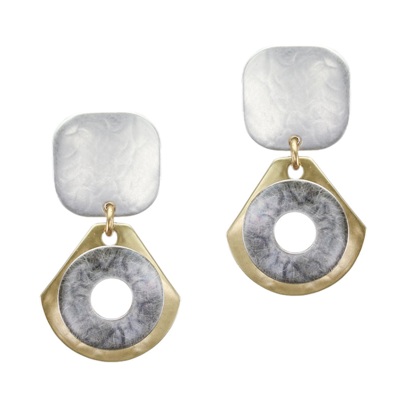 Rounded Square with Rounded Drop and Cutout Disc Earring