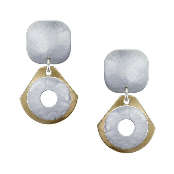 Rounded Square with Fan and Wide Ring Post or Clip Earring