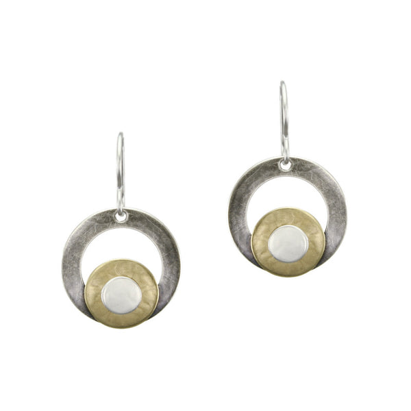 Ring and Disc Stack Earring