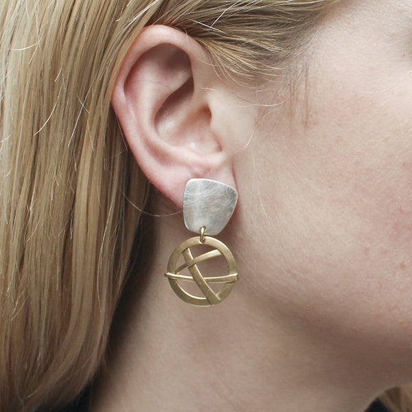 Tapered Square with Woven Disc Earring