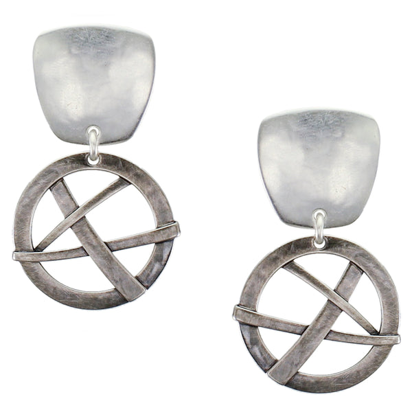 Tapered Square with Woven Disc Post or Clip Earring