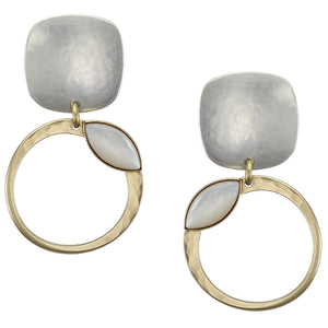 Rounded Square with Ring and Mother of Pearl Marquis Earring