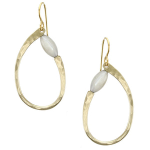 Oval Ring with Mother of Pearl Bead Earring