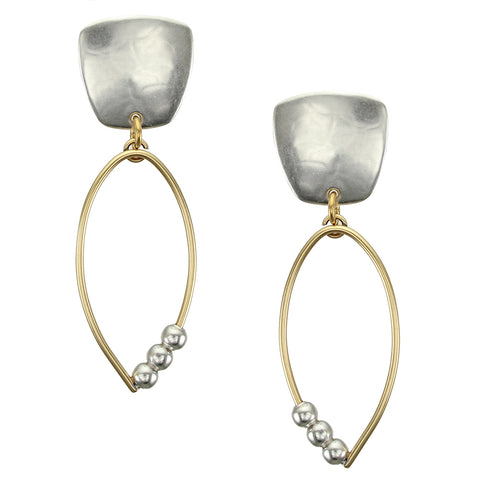 Tapered Square with Teardrop Ring with Beads Earring