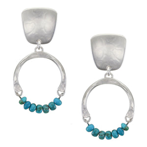 Tapered Square with Horseshoe and Beads Post or Clip Earring
