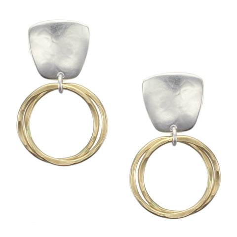 Tapered Square with Interlocking Rings Earring