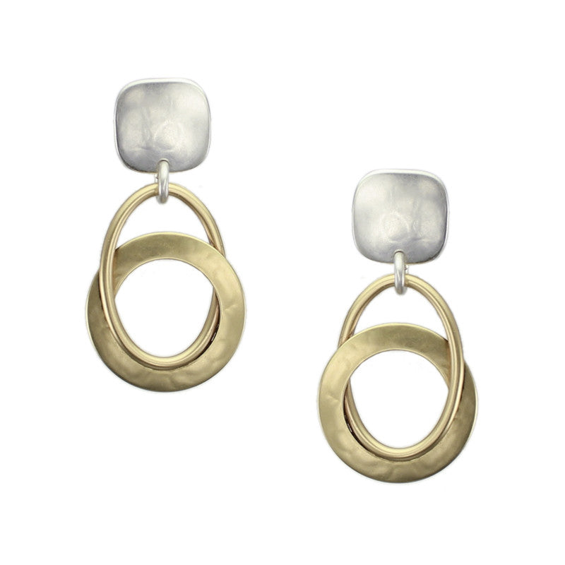 Square with Interlocking Cutout Disc and Oval Ring Earring