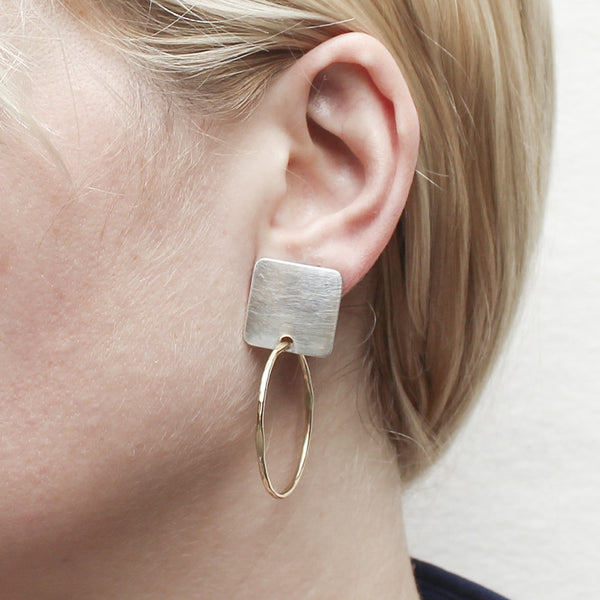 Square with Hammered Hoop Earring