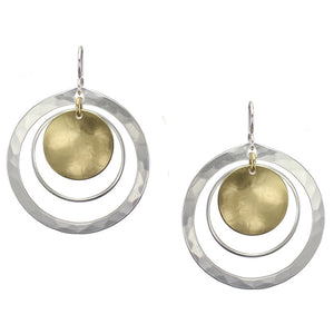 Large Disc and Rings Earring