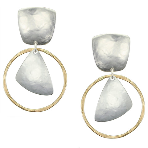 Tapered Square with Ring with Rounded Triangle Clip Earring