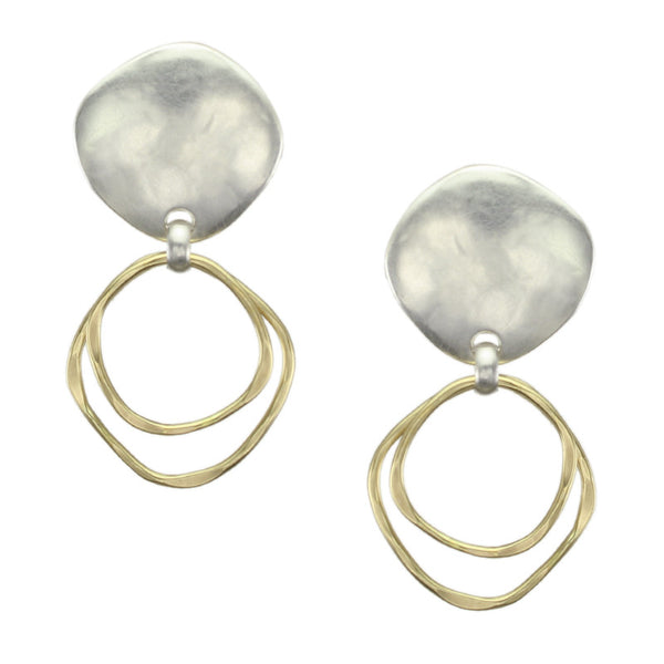 Organic Disc with Tiered Rings Earring
