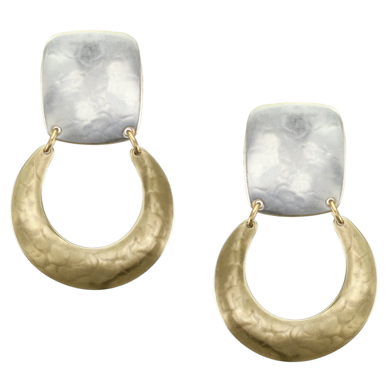 Rounded Rectangle Hinged with Horseshoe Earring