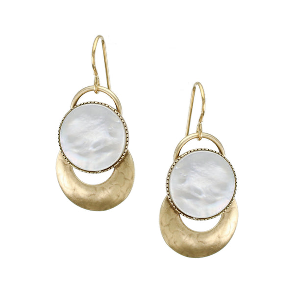Mother of Pearl Disc with Rings Earring
