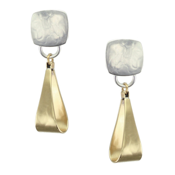 Medium Rounded Square with Long Loop Earring