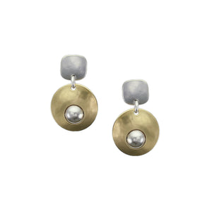 Rounded Square with Disc with Inset Bead Earring