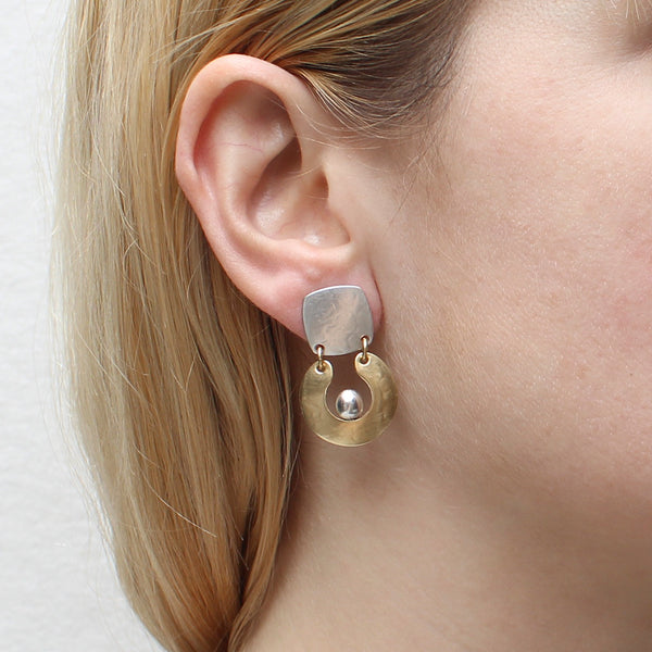 Square with Hinged Horseshoe with Perched Bead Earring