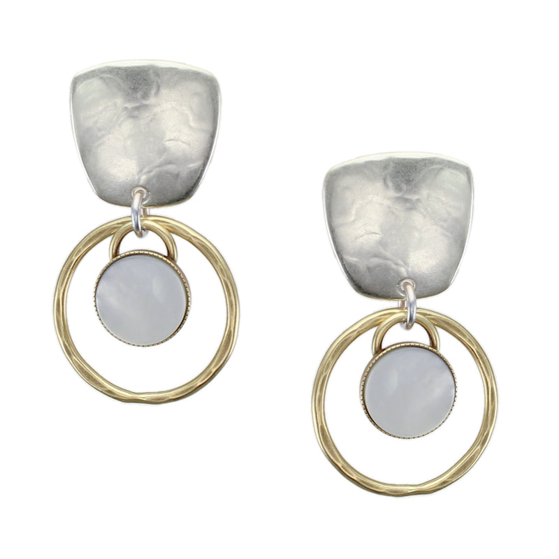 Tapered Square with Rings and Mother of Pearl Disc Earring