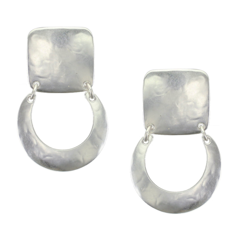 Square with Hinged Horseshoe Earring