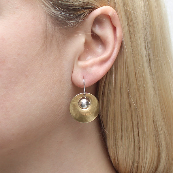 Cutout Disc with Bead Earring