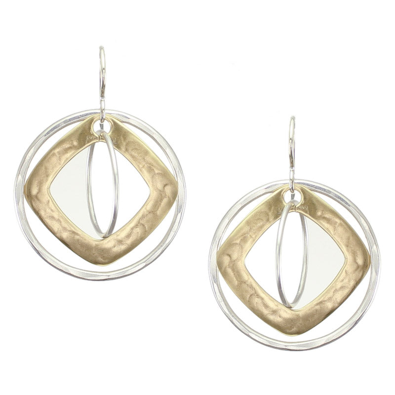 Cutout Diamond with Rings Earring
