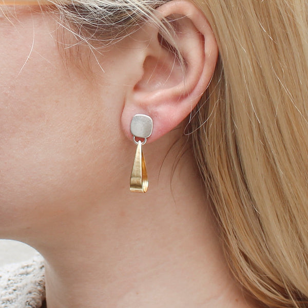 Small Rounded Square with Long Loop Earring