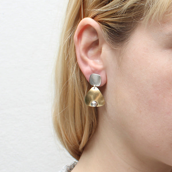 Rounded Square with Triangle with Inset Bead Earring