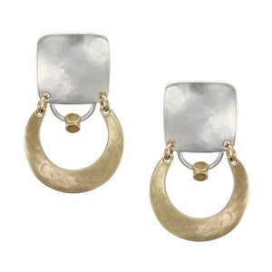 Square Hinged with Horseshoe Ring and Bead Earring