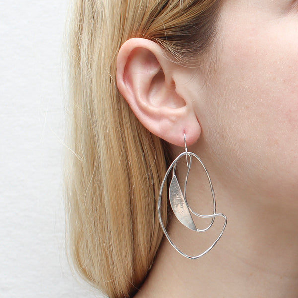 Oval Ring with Slice and Swoosh Earring