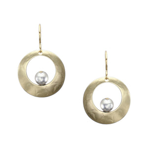 Cutout Disc with Perched Bead Earring