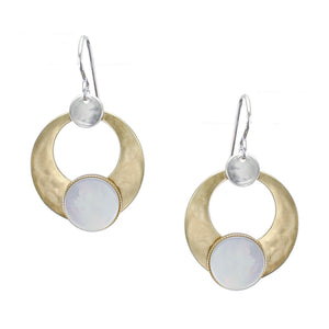 Cutout Disc with Mother of Pearl Disc Earring