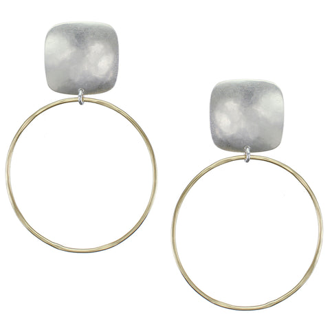 Rounded Square with Large Ring Earring