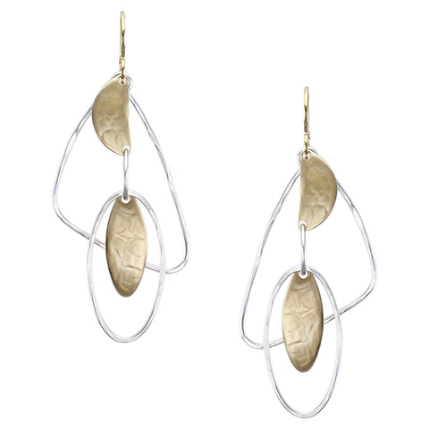 Oval and Semi-Circle with Oval and Triangle Rings Earring