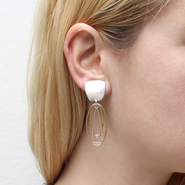 Tapered Square with Layered Ring and Beads Earring