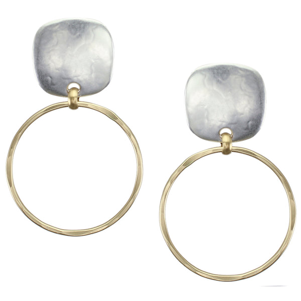 Brass and Silver Post or Clip on Earrings