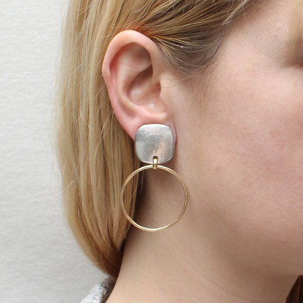 Rounded Square with Ring Earring