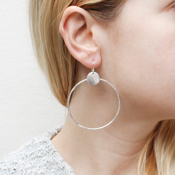 Disc with Large Ring Wire Earring