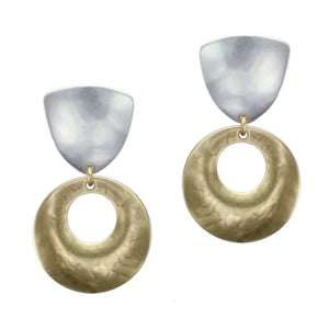 Rounded Triangle with Cutout Disc Clip Earring