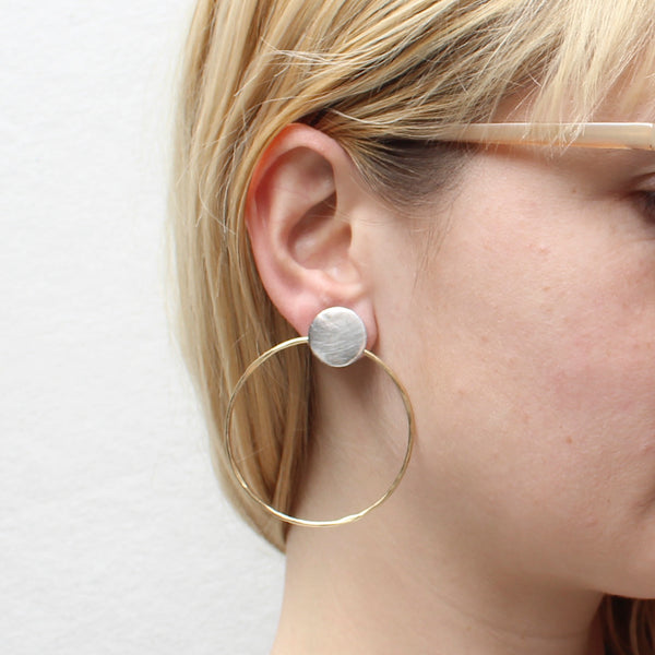 Disc with Large Ring Post Earring