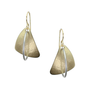 Rounded Triangle with Interlocking Ring Earring