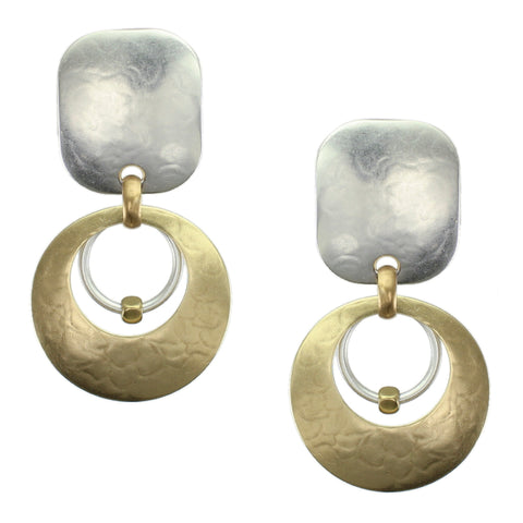Rounded Rectangle with Cutout Disc with Ring and Bead Earring