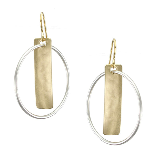 Rectangle with Interlocking Ring Earring