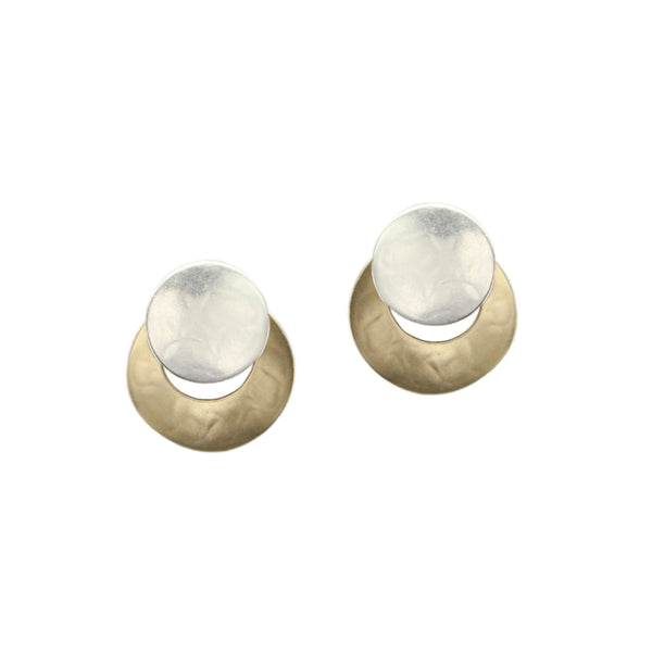 Small Disc Over Crescent Clip or Post Earring