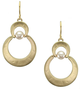 Stacked Crescents with Suspended Cream Pearl Earring