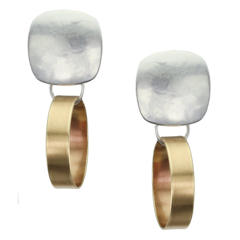 Rounded Square with Wide Rim Clip Earring