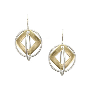 Cutout Diamond with Layered and Interlocking Rings Earring